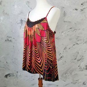 NICOLE MILLER Bold Red & Orange Flowing Camisole